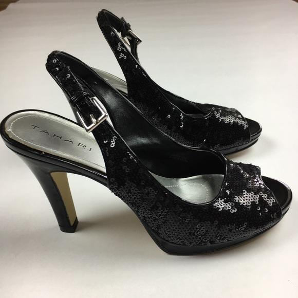 0e1e1d8e04fa Tahari Shoes | Si Senor Black Sequin Peep Toe Heels Sz 65 | Poshmark